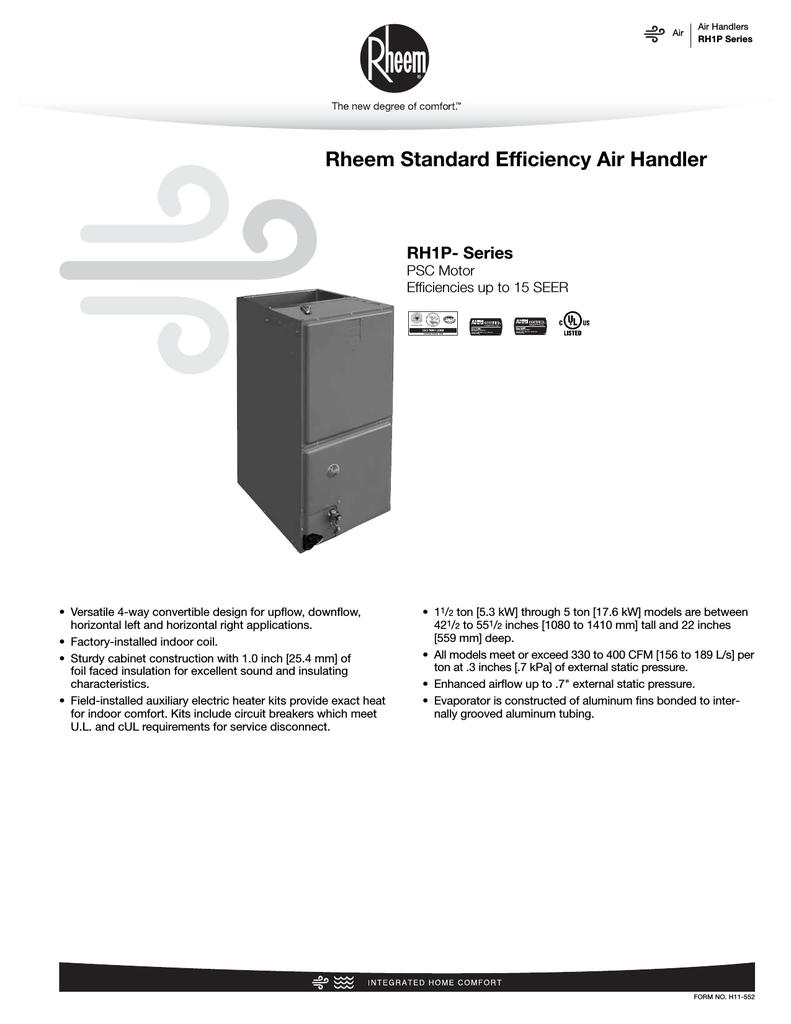 medium resolution of rheem rh1p specification sheet