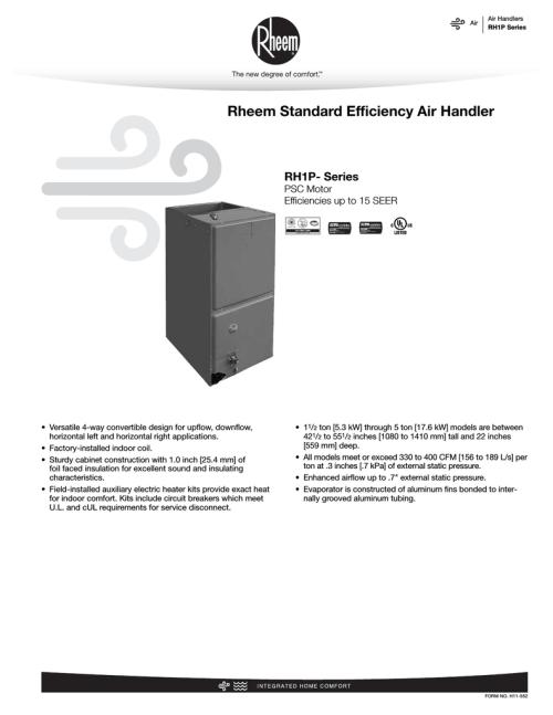 small resolution of rheem rh1p specification sheet
