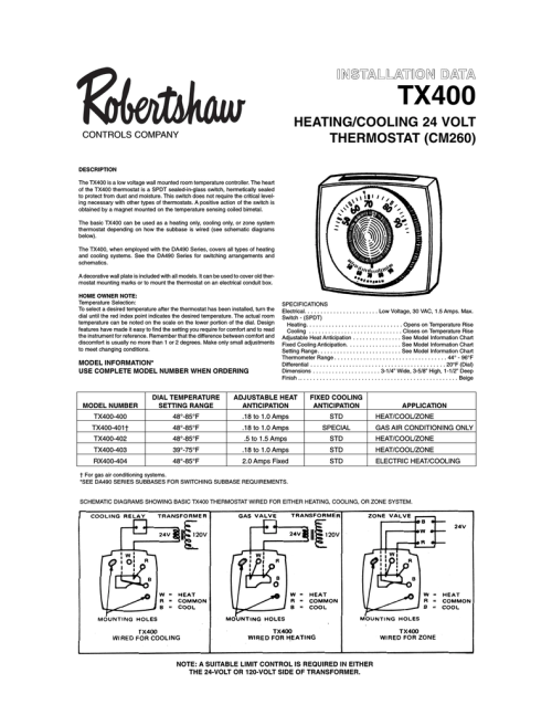 small resolution of  robertshaw 400 402 owner s manual manualzz com on robertshaw 9620 thermostat wiring layout robertshaw 9520 thermostat wiring diagram