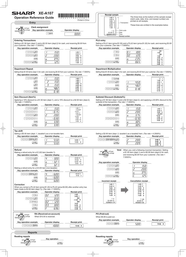 Package of Six Black Sharp XE-A101 XE-A102 XE-A107 Cash