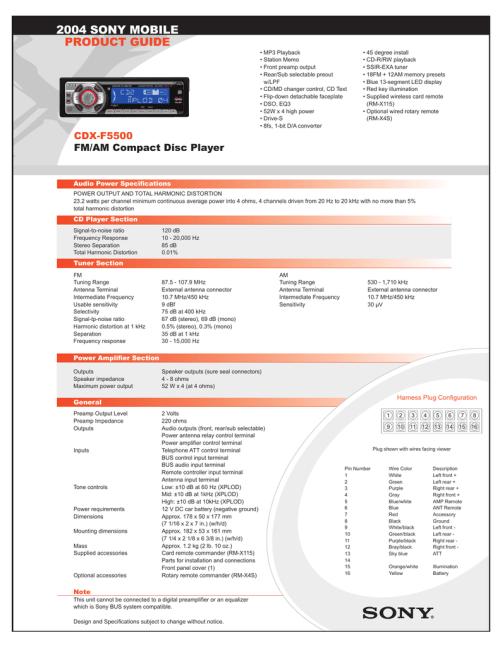 small resolution of  diagram on sony sony cdx f5500 marketing specifications manualzz com on sony m 610 wiring harness