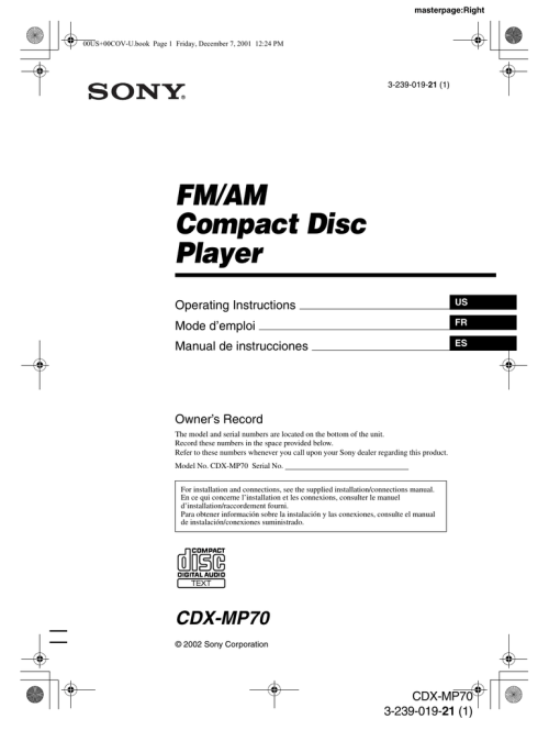 small resolution of sony cdx mp70 user s manual