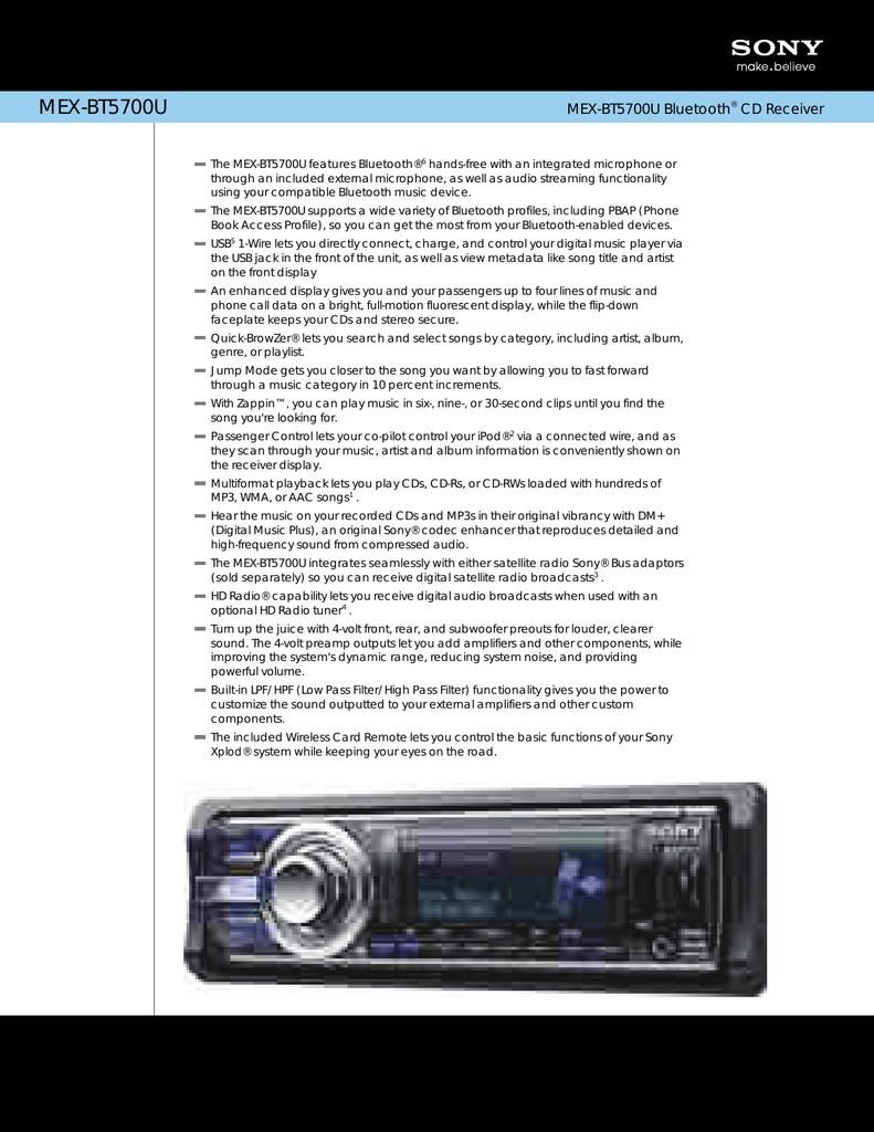 medium resolution of sony mex bt5700u marketing specifications
