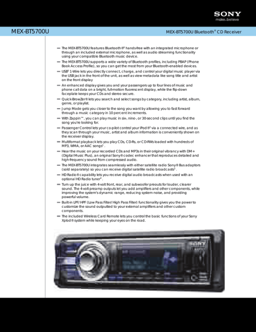 small resolution of sony mex bt5700u marketing specifications