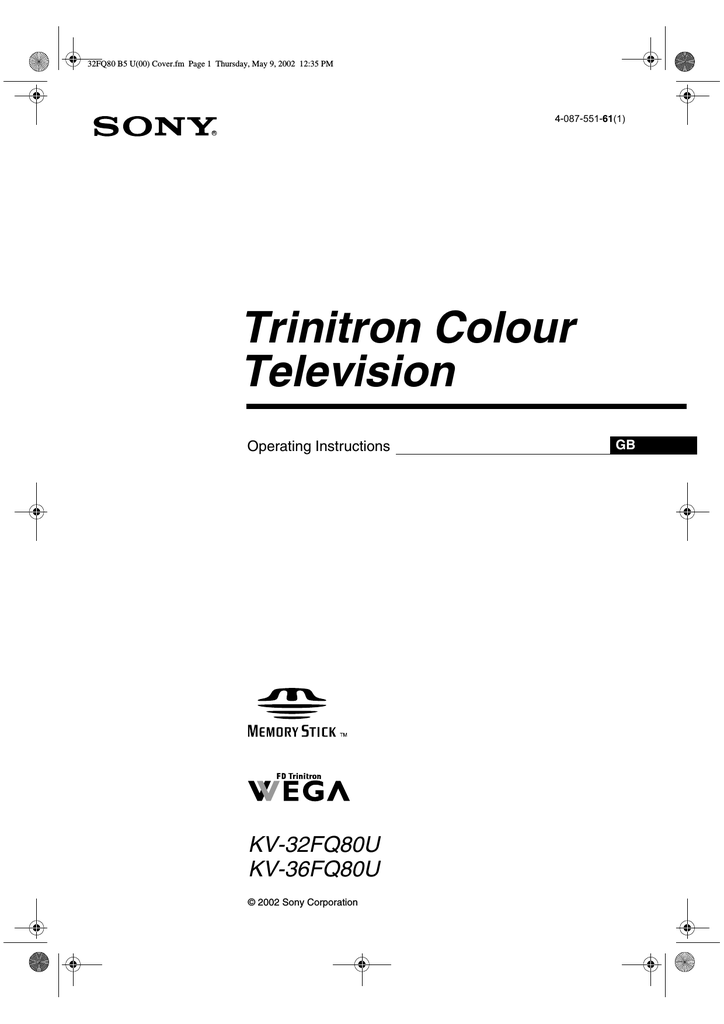 Bestseller: Owners Manual For Sony Trinitron Tv