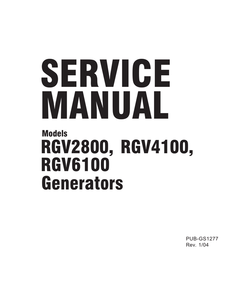 Subaru Robin Power Products RGV6100 User's Manual