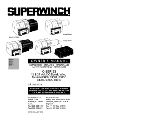 small resolution of superwinch 12 24 volt dc electric winch 3000 user s manual