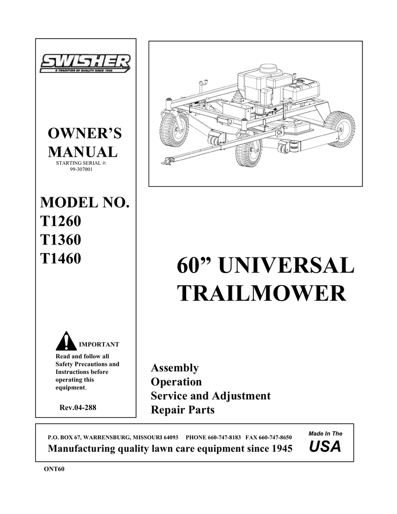 hight resolution of swisher t1260 user s manual