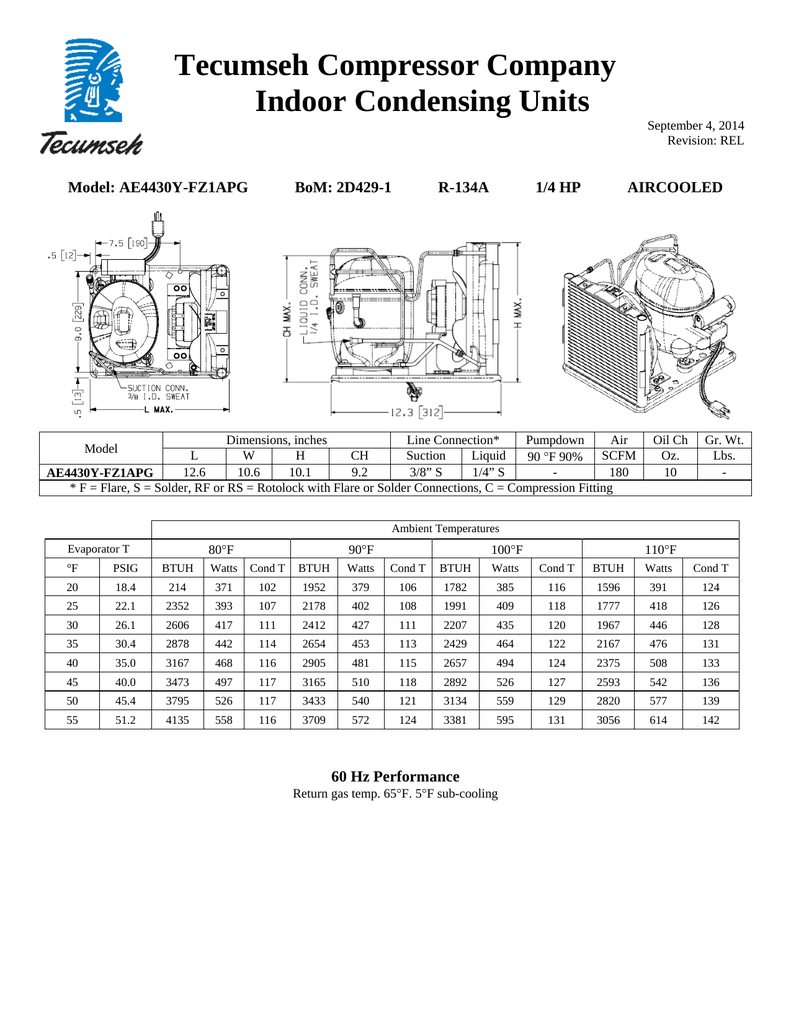 hight resolution of tecumseh ae4430y fz1apg performance data sheet