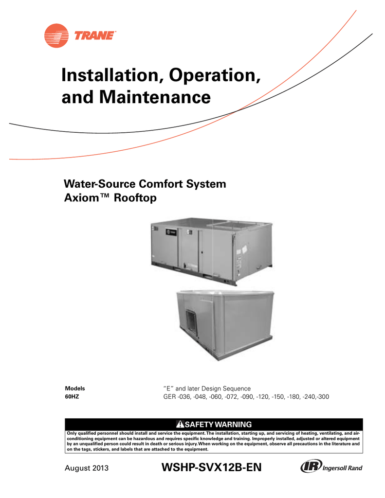 medium resolution of trane rooftop wshp installation and maintenance manual