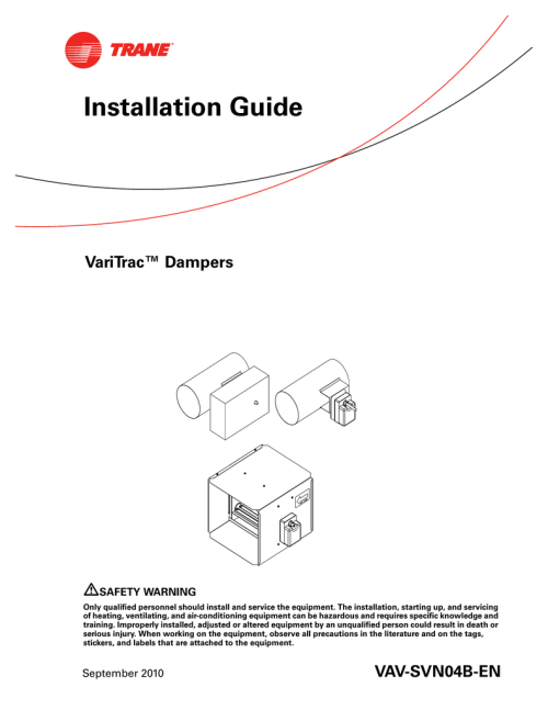 small resolution of trane varitrac dampers installation and maintenance manual
