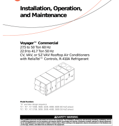 trane voyager commercial 27 5 to 50 tons installation and wiring diagram model mercial rooftop hvac units with economizer 5 wire [ 791 x 1024 Pixel ]