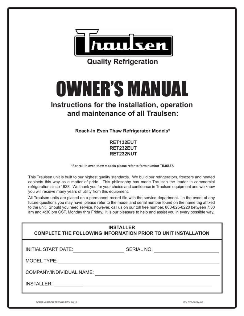 hight resolution of traulsen freezer ret232eut user s manual