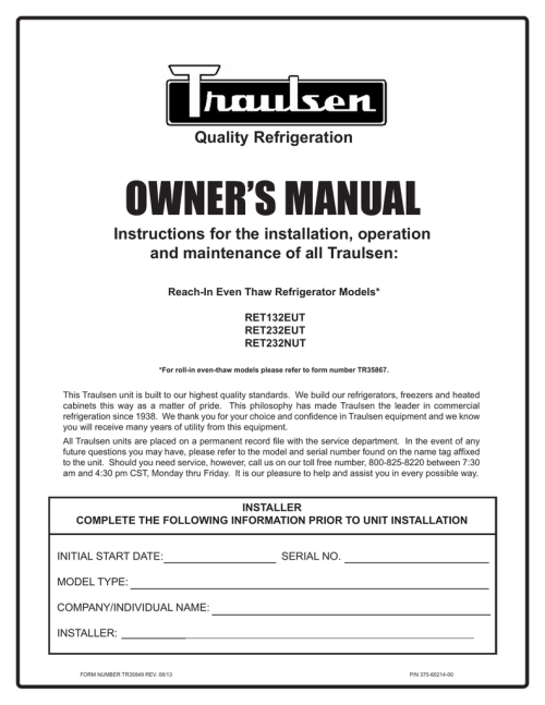 small resolution of traulsen freezer ret232eut user s manual