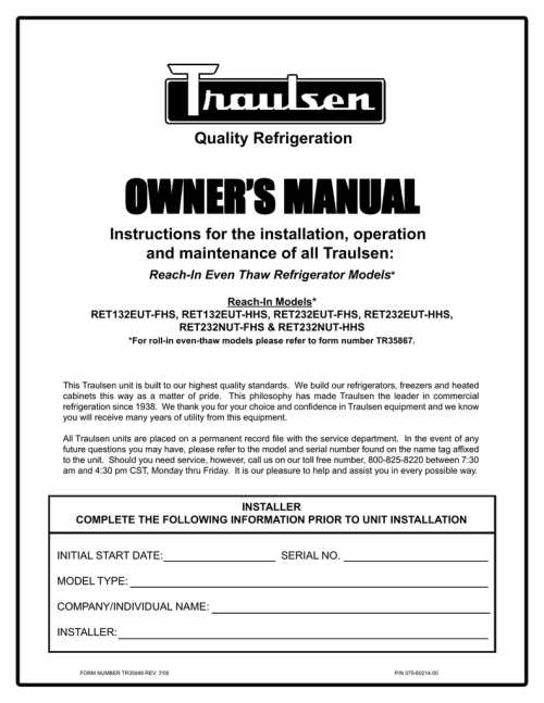 small resolution of traulsen ret232eut hhs user s manual quality refrigeration owner s manual instructions for the installation
