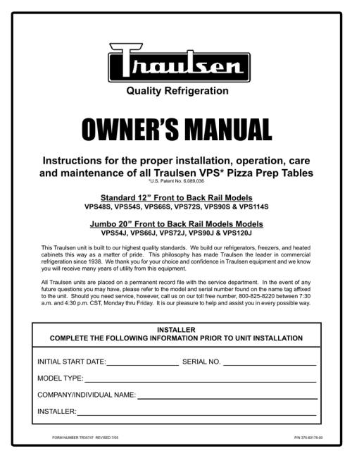 small resolution of traulsen vps120j user s manual