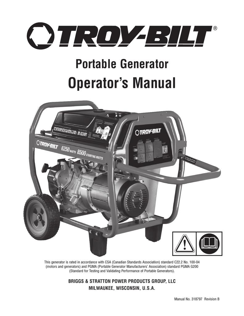 Troy-Bilt 6250 Watt Portable Generator User's Manual