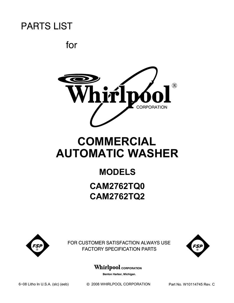 hight resolution of whirlpool cam2762tq0 user s manual