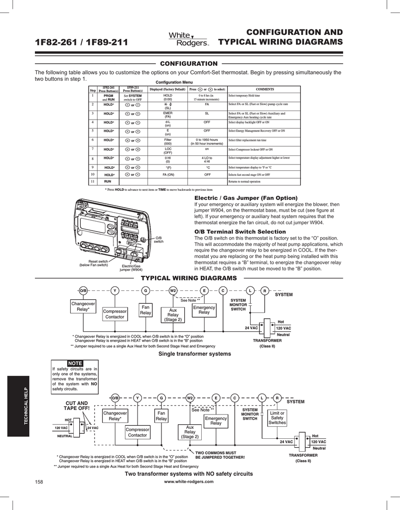 hight resolution of white rodgers 1f82 261 wiring and configuration manualzz com white rodgers thermostat wiring diagram 1f82