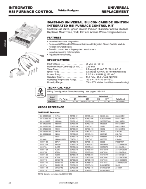 small resolution of white rodgers 50a55 843 catalog page integrated hsi furnace control universal