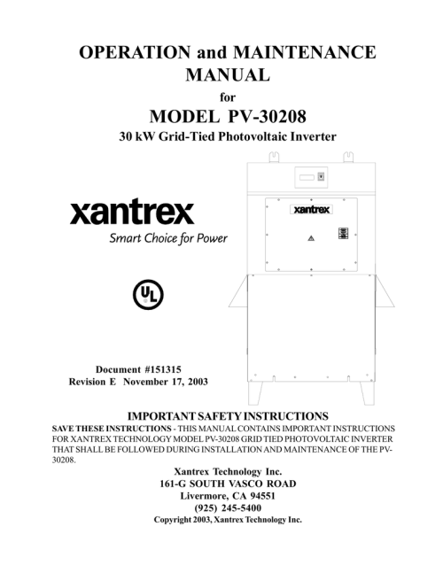 small resolution of xantrex pv 30208 user s manual