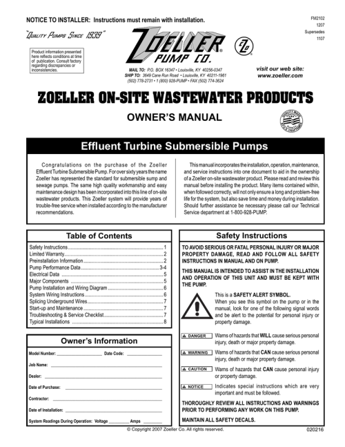 small resolution of zoeller fm2102 user s manual