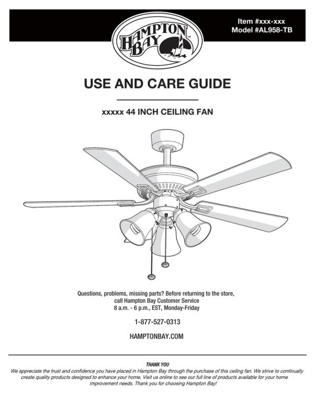 Hampton Bay Ceiling Fan Installation Directions