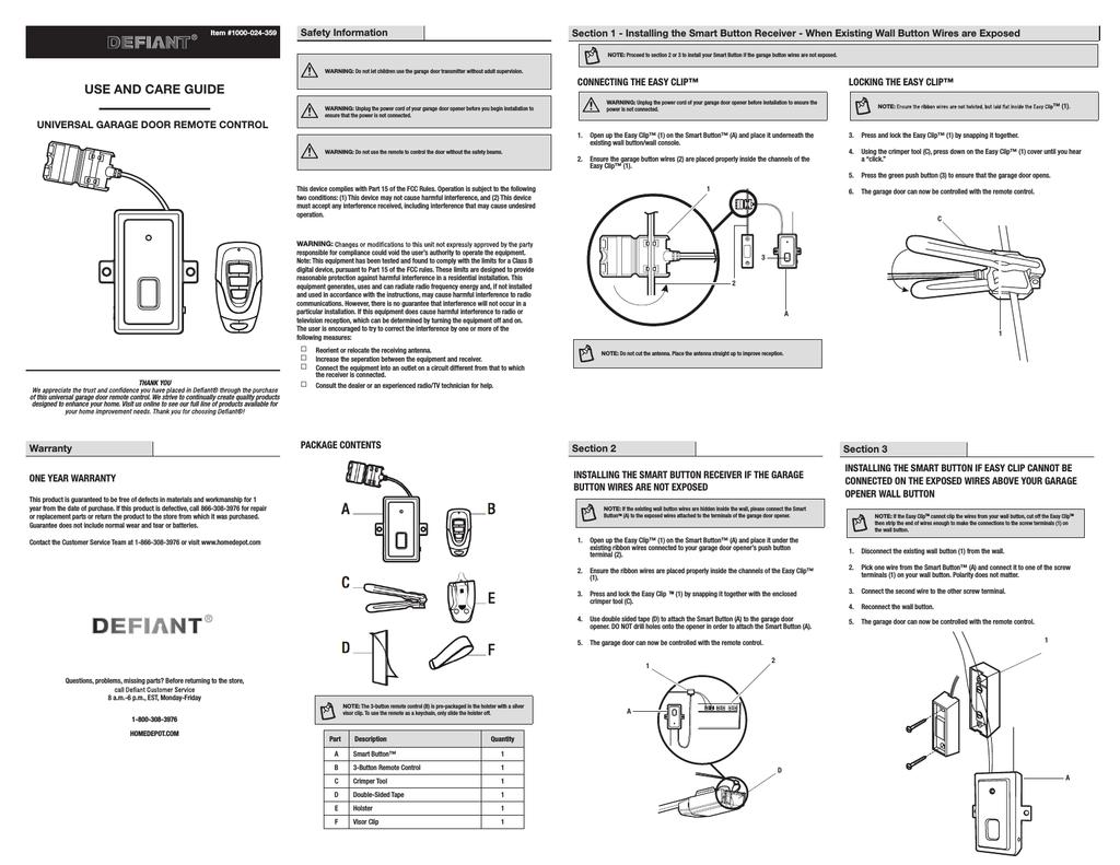 Defiant Universal Garage Door Opener Remote Control Manual