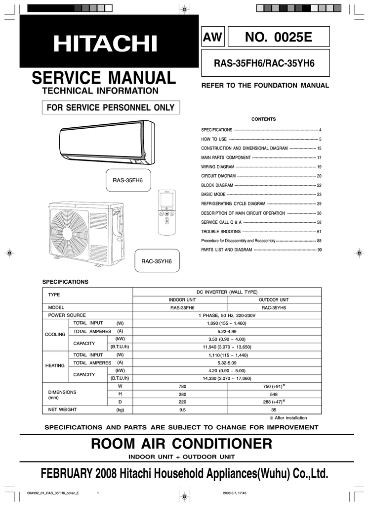 Hitachi Aircon Service Manual