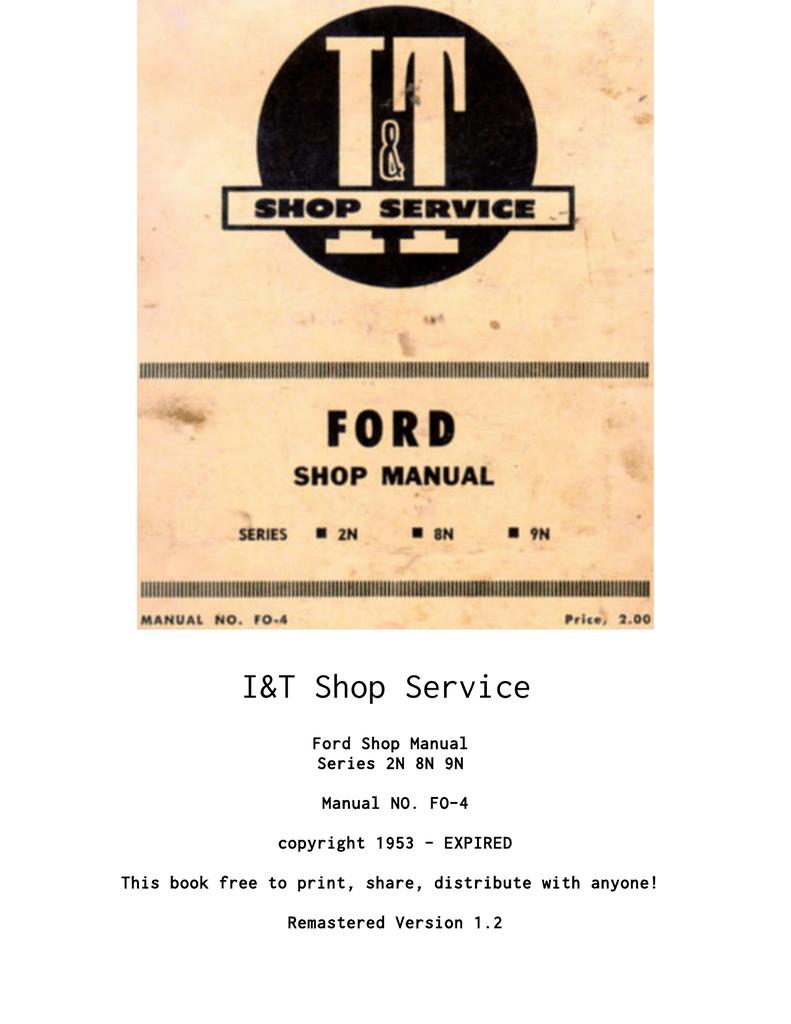 medium resolution of i t ford shop service manual series 2n 8n 9n manualzz com