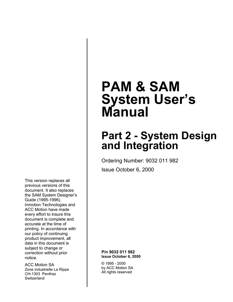 hight resolution of pam sam system user s manual