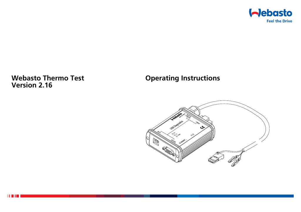 Webasto Thermo Test Version 2.16 Operating Instructions
