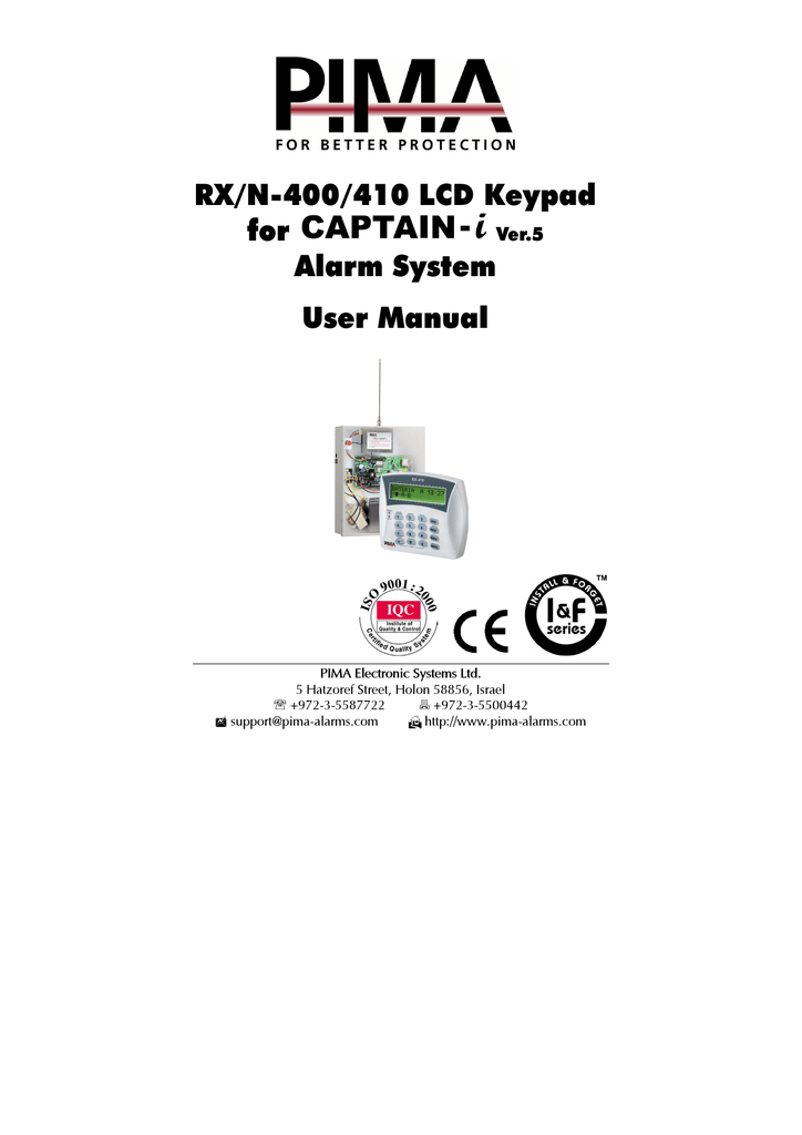 RX/N-400/410 LCD Keypad for Alarm System User Manual