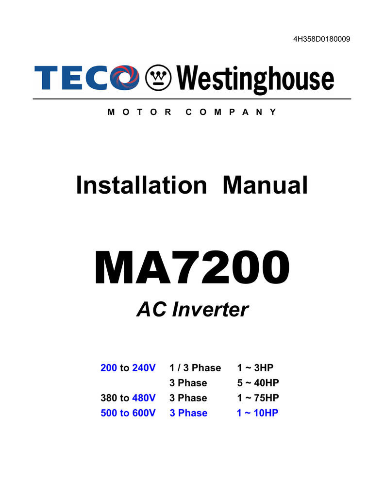 hight resolution of installation manual teco westinghouse motors canada inc