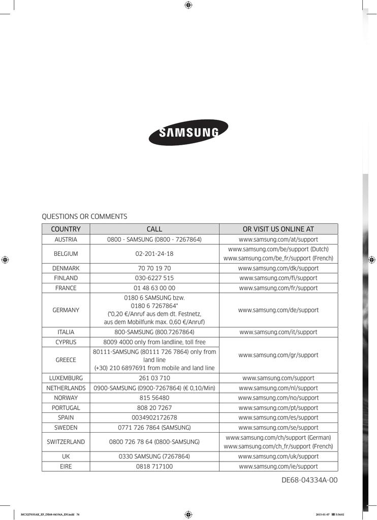 Samsung MC32J7035AK 32 Litre Grill Microwave User Manual