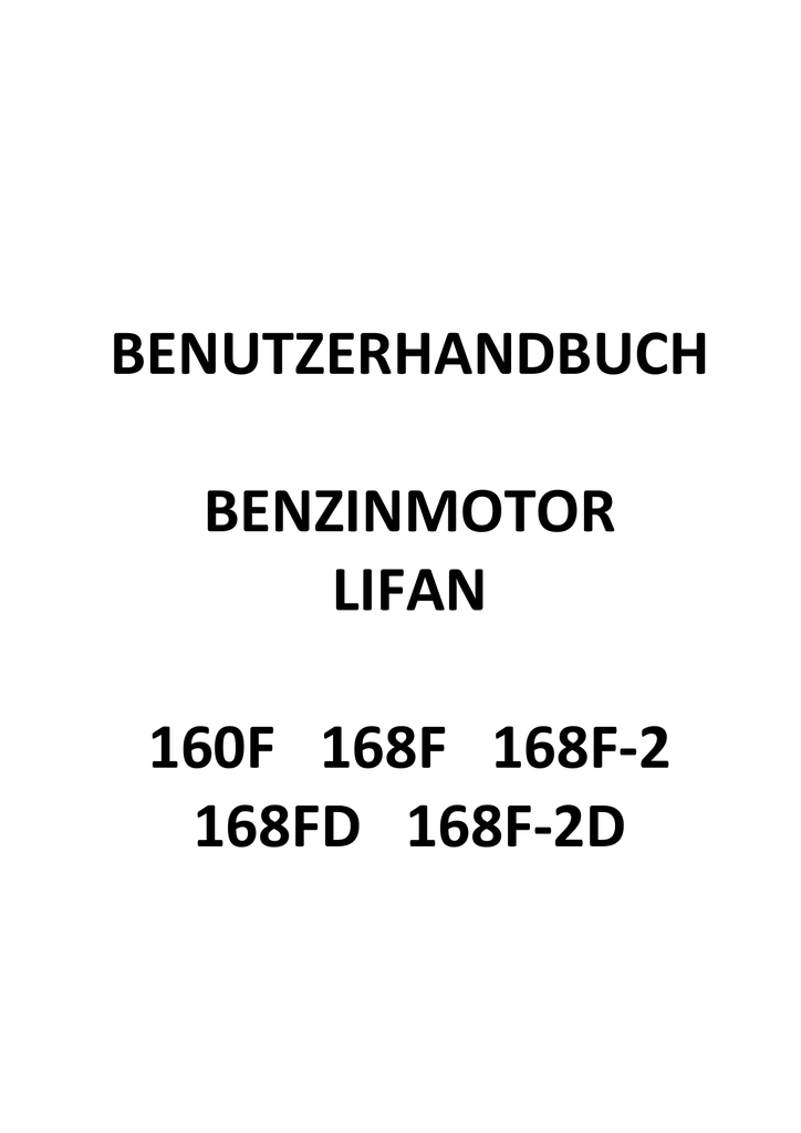 benutzerhandbuch benzinmotor lifan 160f 168f 168f-2 168fd