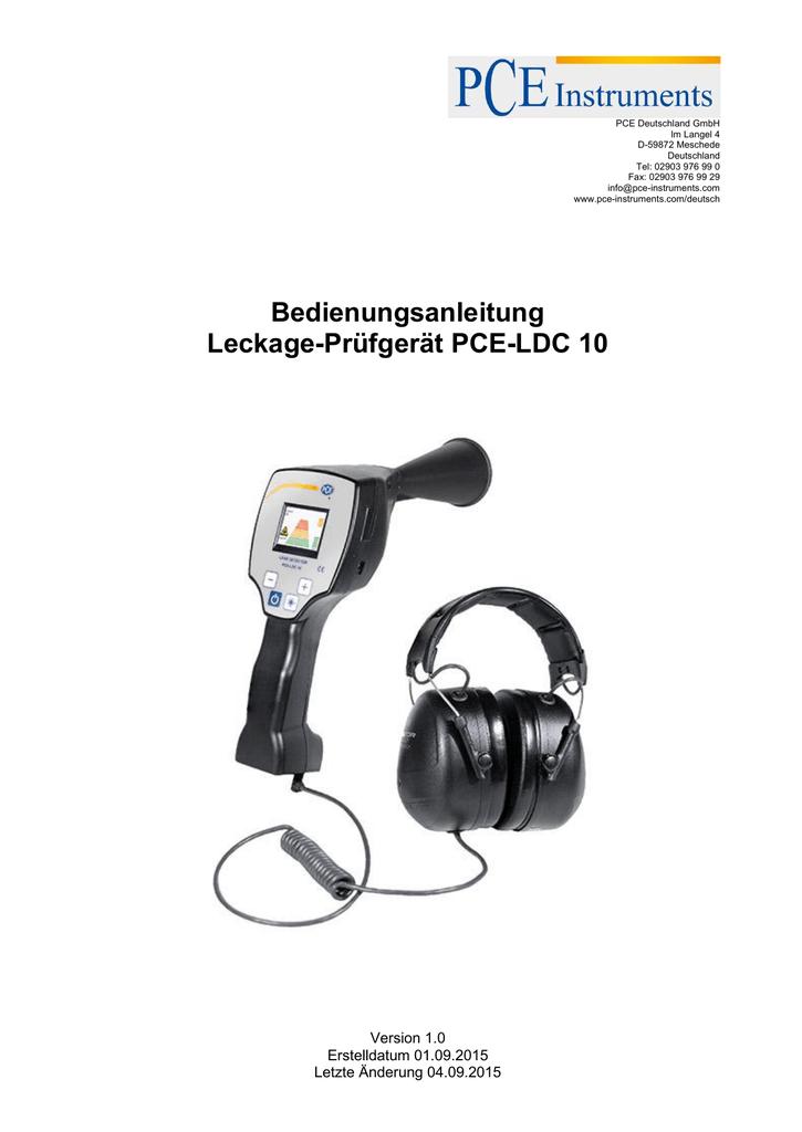 Bedienungsanleitung Leckage-Prüfgerät PCE