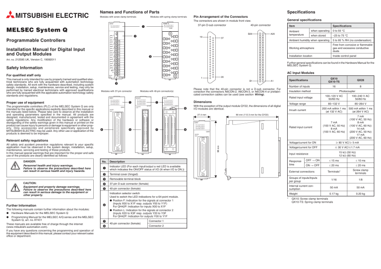 Installation Manual for Digital Input and Output Modules