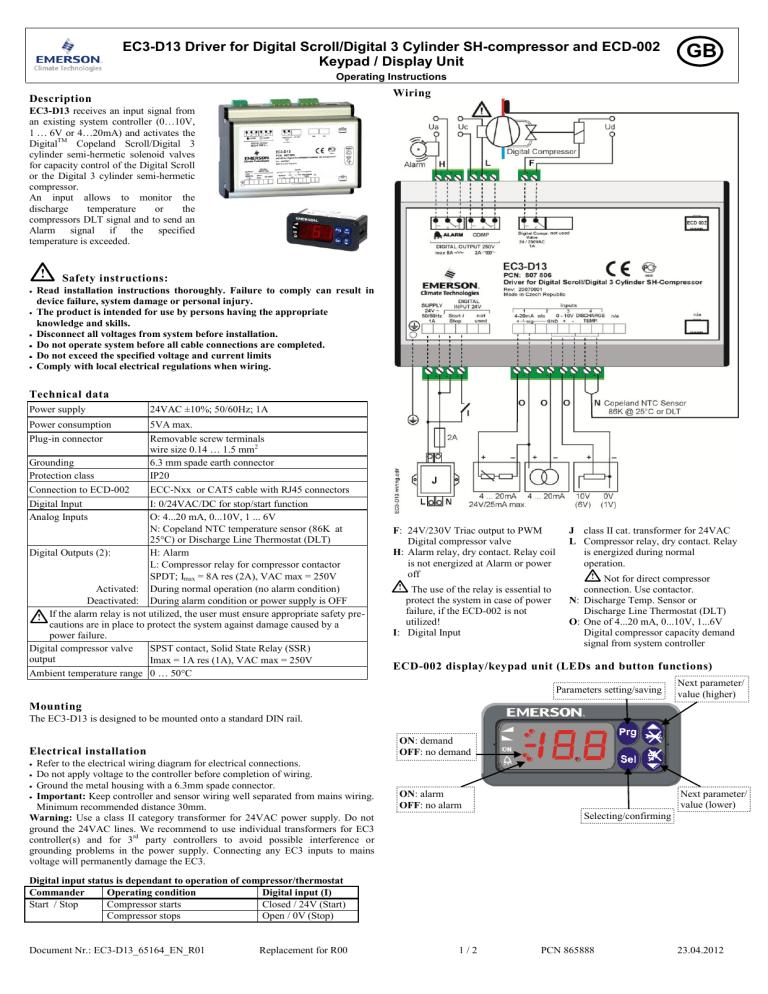 Copeland Scroll Digital Compressor Controller Wiring