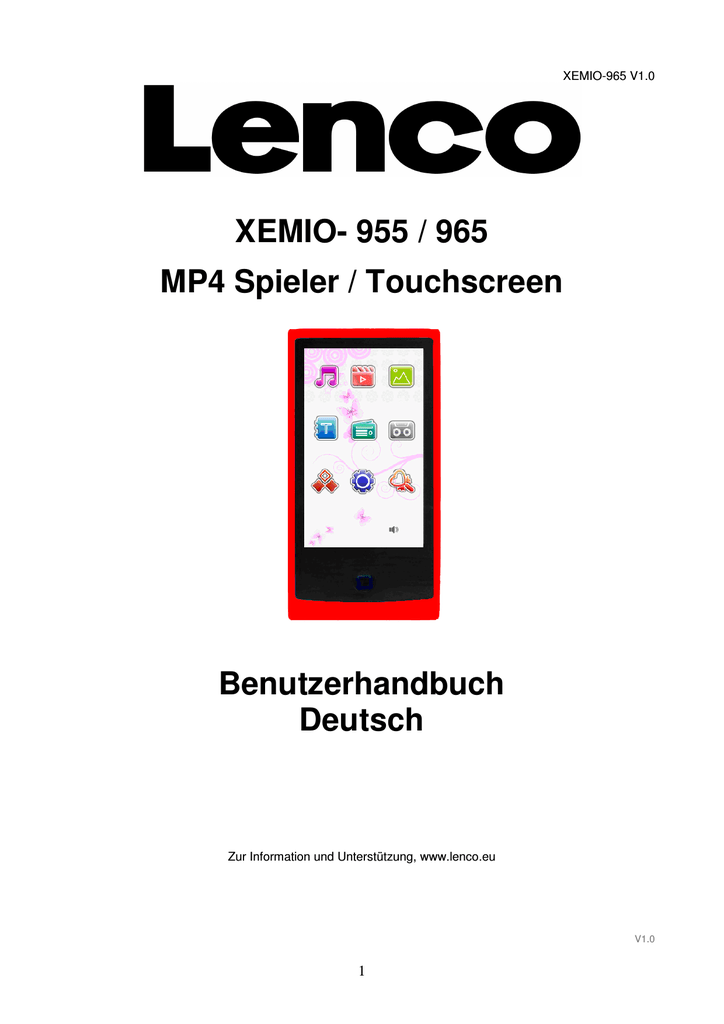 XEMIO- 955 / 965 MP4 Spieler / Touchscreen