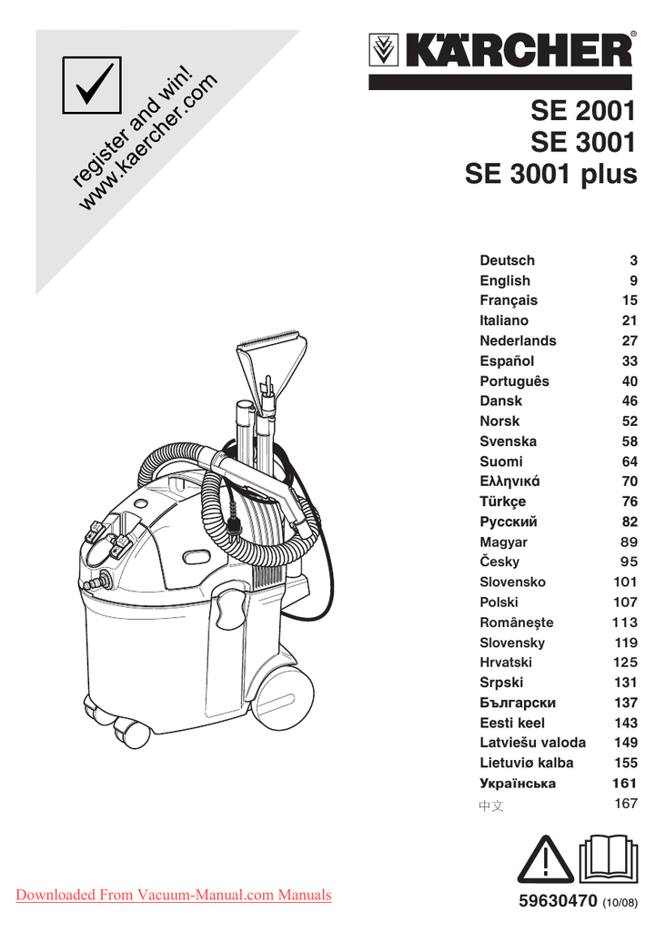 Karcher SE 3001 Vacuum Cleaner User Guide Manual