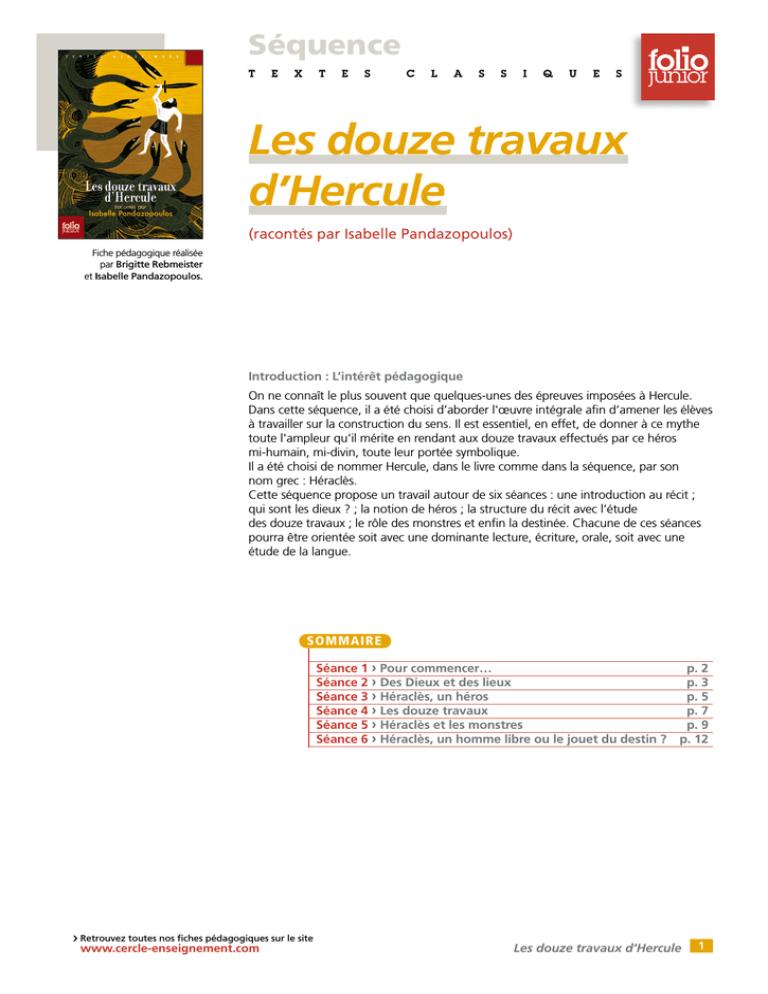 Les 12 Travaux D'hercule Questionnaire Cm2 : travaux, d'hercule, questionnaire, Télécharger, Fiche, Cercle, Gallimard, L`enseignement, Manualzz