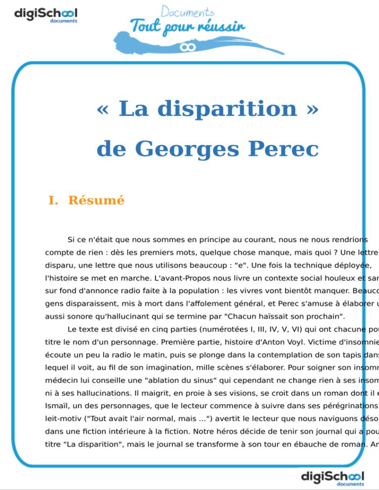 La Disparition De Georges Perec : disparition, georges, perec, Disparition, Georges, Perec, Manualzz