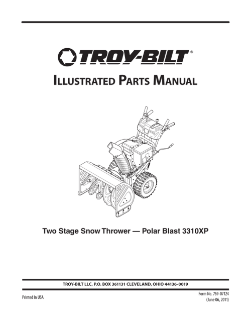 small resolution of illustrated parts manual two stage snow