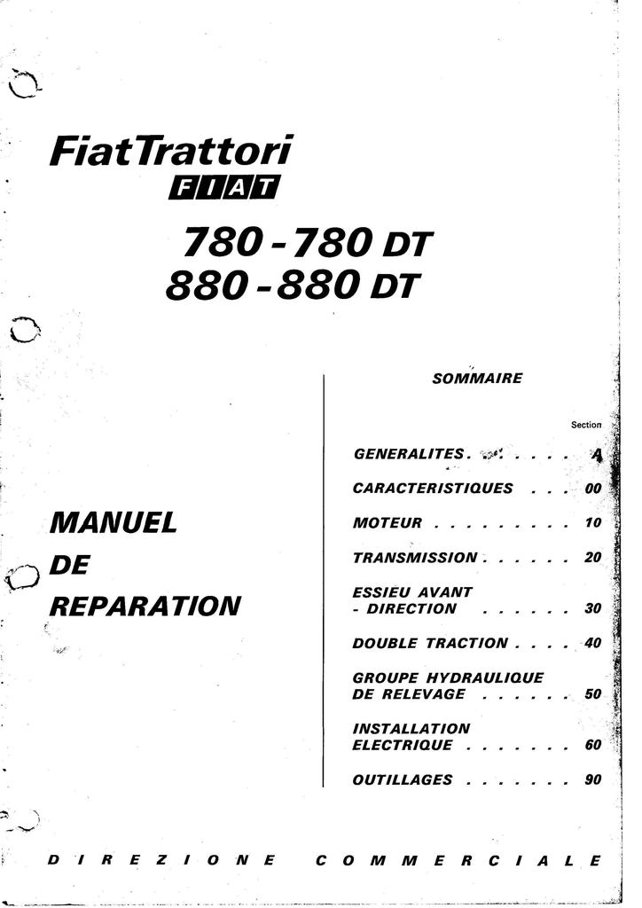 Manuel de réparation SOMECA FIAT 780 780DT 880 et 880DT