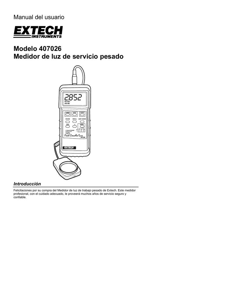manual de operación Luxometro 407026 (PDF Español
