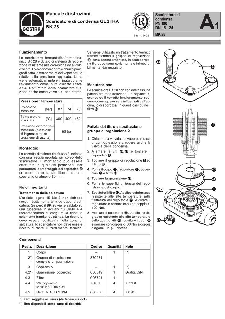 Manuale di istruzioni Scaricatore di condensa GESTRA BK 28