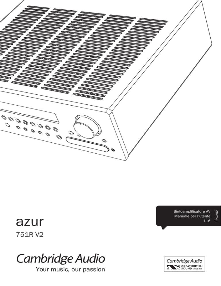 Assegnazione ingressi video. Cambridge Audio Azur 751R V1