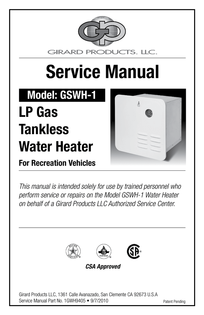 Girard Tankless Water Heater Troubleshooting : girard, tankless, water, heater, troubleshooting, Service, Manual, Girard, Products,, Manualzz