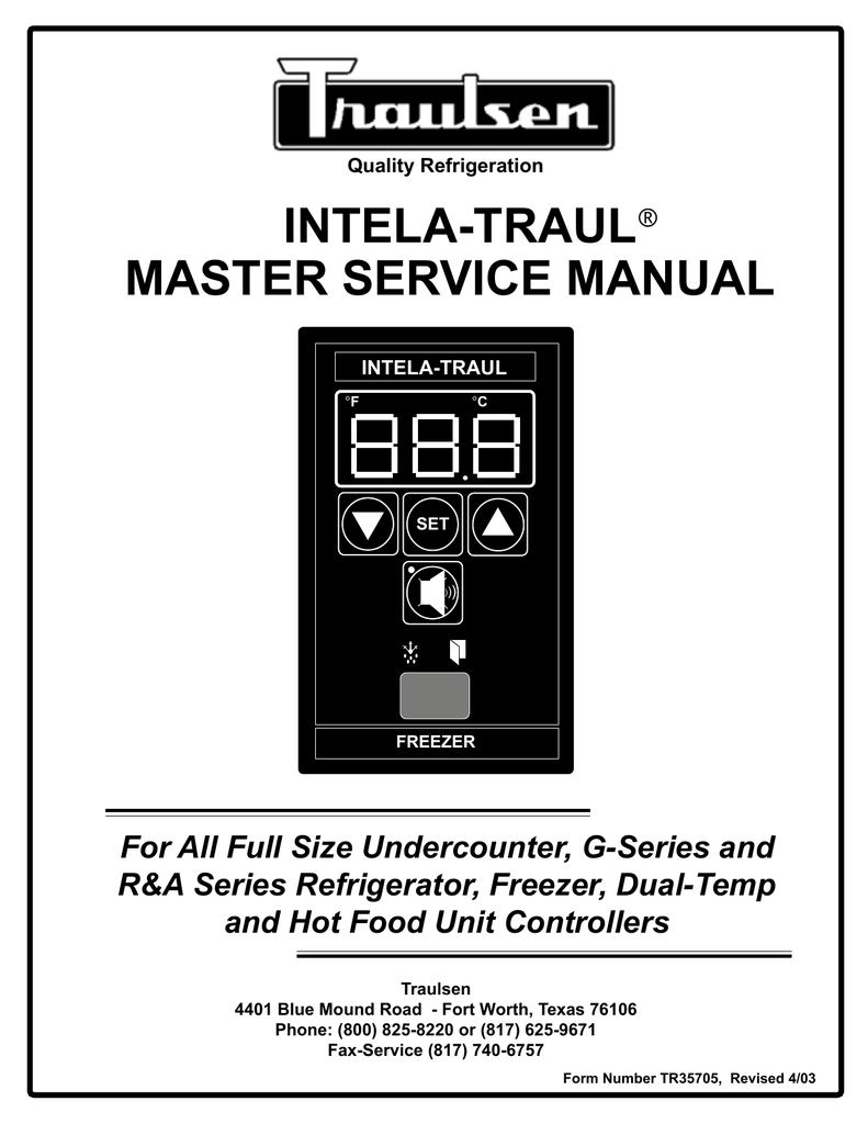 medium resolution of traulsen master service manual